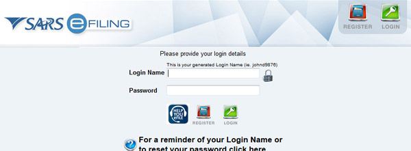 SARS eFiling login screen