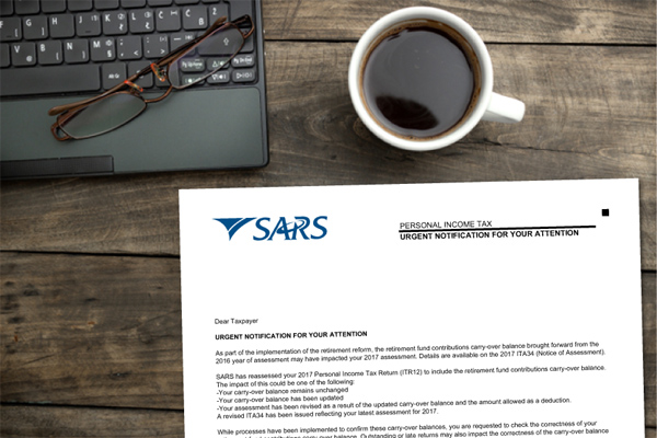 Delivery from SARS: Retirement Contributions Letter