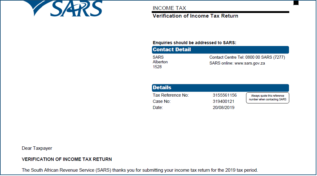 SARS asked for my documents again. Why?