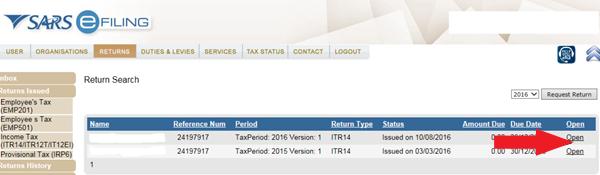 Current tax return